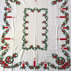Cotton Christmas holiday Tablecloth white & red